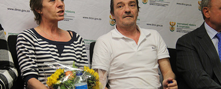 Debbie Calitz (L) and Bruno Pelizzari at the OR Tambo International Airport on 27 June 2012. Picture: Taurai Maduna/EWN