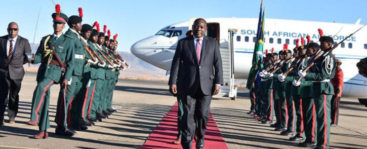 President Cyril Ramaphosa arrives in Maseru, Lesotho on 4 July 2019. Picture: @PresidencyZA/Twitter