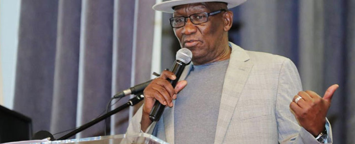 Police Minister Bheki Cele at a crime summit in Paarl on 14 July 2019. Picture: @SAPoliceService/Twitter