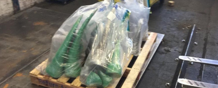 Some of the 36 pieces of rhino horns seized at the OR Tambo International Airport on 10 January. Picture: Supplied