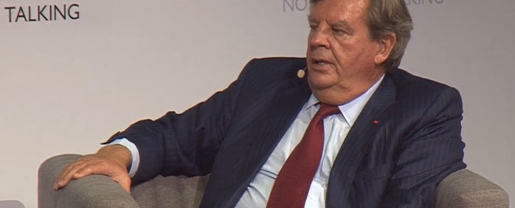 A YouTube screengrab of businessman Johann Rupert during his interview with the chairperson of the MSG Afrika Group Given Mkhari.
