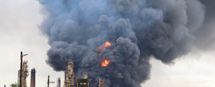 The Engen refinery in Wentworth Durban is engulfed in flames after an explosion. Picture: Riosha Kuar