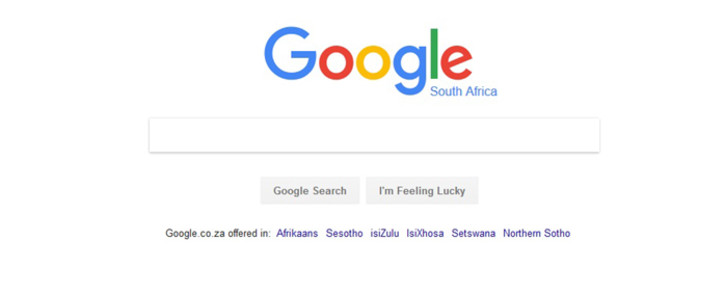 A screengrab of the homepage of google.co.za search engine.