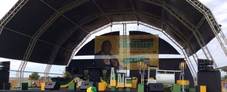 The stage is set at the Ephraim Mogale Stadium ahead of the Provincial ANC 106th Rally. Picture: @MYANC/Twitter.