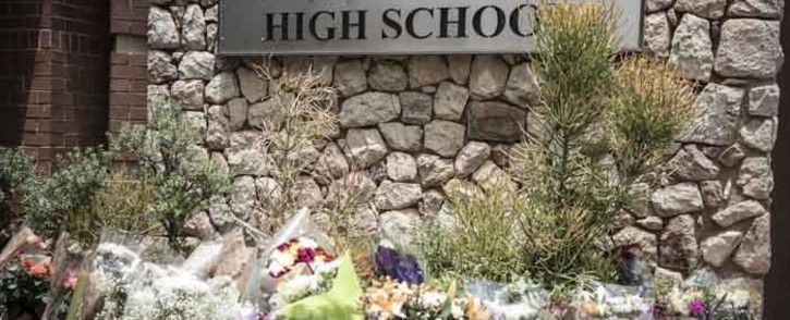 Flowers laid outside Parktown Boys' High School on 20 January 2020 after one of its pupils Enock Mpianzi died at a school camp in the North West. Picture: Abigail Javier/EWN