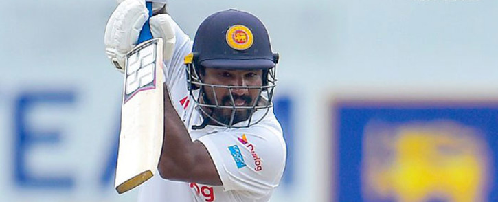 The Lankan openers survive the England attack and make it to tea with 90 for no loss. Picture: Twitter @OfficialSLC.