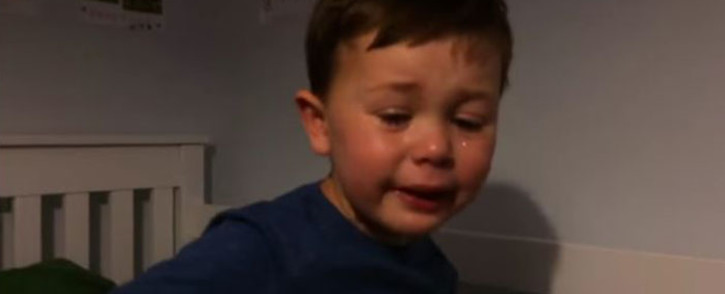 Distraught Manchester United fan Louis Diamond wails over the transfer of Robin Van Persie. Picture: Screengrab