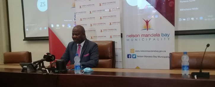 Nelson Mandela Bay Municipality Mayor Nqaba Bhanga at a briefing on 4 March 2021. Picture: @NMandelaBaymuni/Twitter.