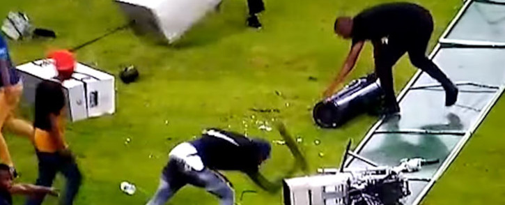 A screengrab of Kaizer Chiefs fans destroying camera equipment following their side's defeat to Free State Stars in a Nedbank Cup match at the Moses Mabhida Stadium on 21 April 2018.