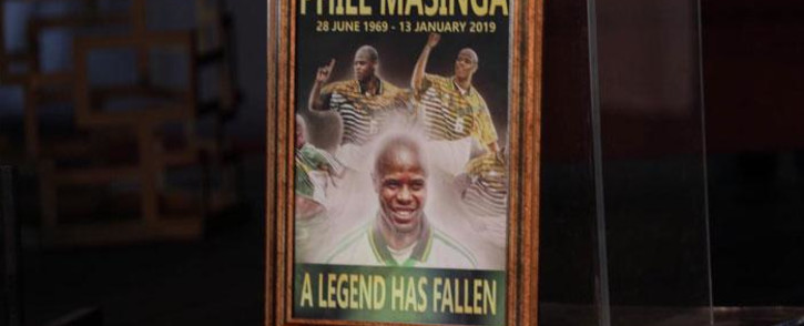 A photo frame at the funeral of former Bafana Bafana forward Phil Masinga on 24 January 2019 at the Khumalo Stadium in Khuma, North West province. Picture: Abigail Javier/EWN