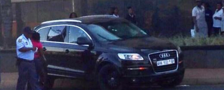 The Audi Q7 in which Sam Issa was shot and killed in Bedfordview on 12 October 2013. Picture: @MarkGander2/Twitter