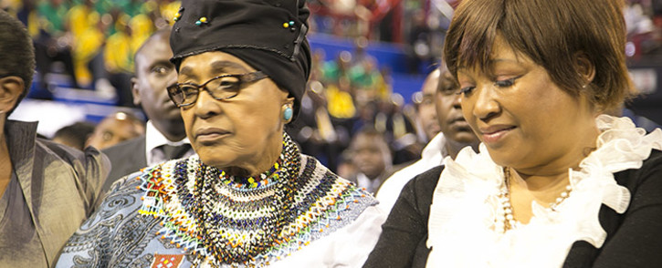 Winnie Madikizela-Mandela and her daughter Zindzi Mandela at Johannesburgs Standard Bank arena on 30 October 2014 for a combined memorial service for former Bafana Bafana captain Senzo Meyiwa, boxer Phindile Mwelase and former world 800 metre champion Mbulaeni Mulaudzi. Picture: Reinart Toerien/EWN