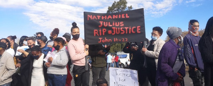 Residents of Eldorado Park, south of Joburg, on 30 August 2020 marched to the local police station following the murder of 16-year-old Nathaniel Julies. Picture: Kayleen Morgan/EWN.