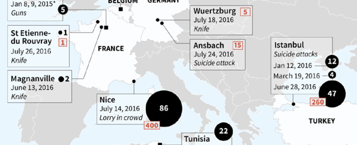 Map locating IS group attacks against Western targets since 2015.