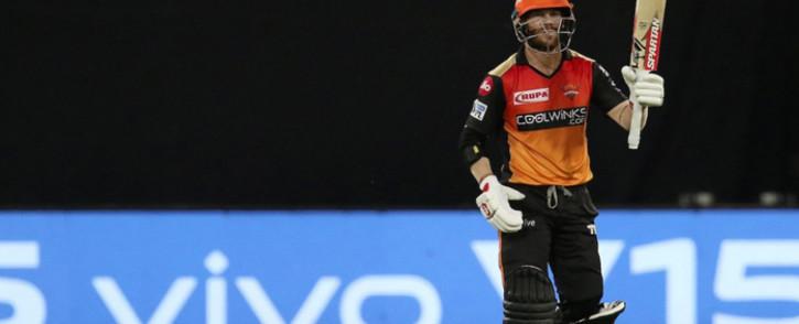Australia's David Warner helped Hyderabad thrash Kolkata Knight Riders by nine wickets. Picture: @IPL/Twitter.