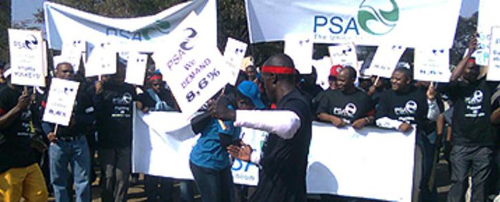 FILE: Members of the Public Servants Association (PSA) protest in Pretoria. Picture: EWN
