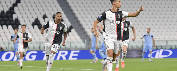 FILE: Juve's Cristiano Ronaldo (right) celebrates his goal against Lazio during their Serie A match on 20 July 2020. Picture: @juventusfcen/Twitter