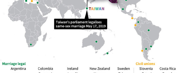Graphic showing places where gay marriage and civil unions are legal. Picture: AFP