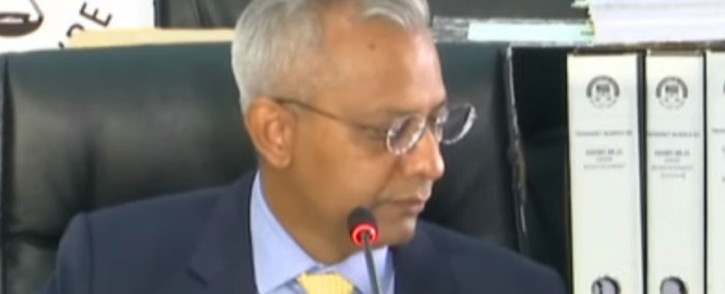 A screengrab of former Eskom CFO Anoj Singh appearing at the state capture inquiry on 22 April 2021. Picture: SABC/YouTube