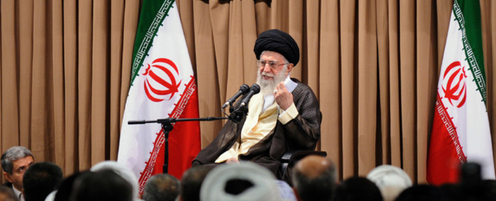 A file picture showing Iran's supreme leader, Ayatollah Ali Khamenei, during a meeting in Tehran in which he restated his country's red lines for a nuclear deal with world powers on 23 June, 2015. Picture: AFP.