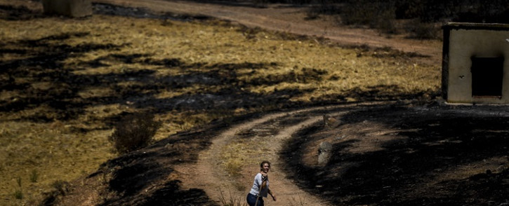 A woman carries a shovel in a field burnt overnight during a wildfire at Santa Rita in Tavira, south of Portugal, on August 17, 2021. Picture: Patricia De Melo Moreira / AFP.