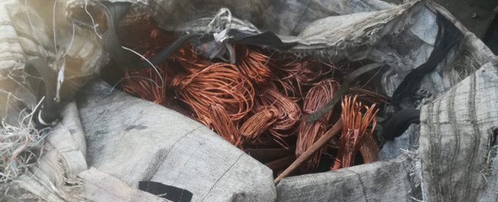 A bag of copper cable recovered in a joint police operation to clampdown on crime affecting the country's railway network on 11 September 2020. Picture: @SAPoliceService/Twitter