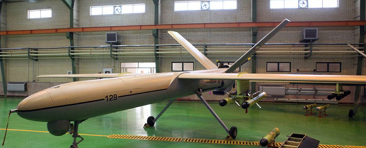 "FILE: A picture released by the official website of Iran's Revolutionary Guards shows a newly Iranian-made drone, ""Shahed 129"" (Witness 129) being shown in Tehran. Picture: AFP"