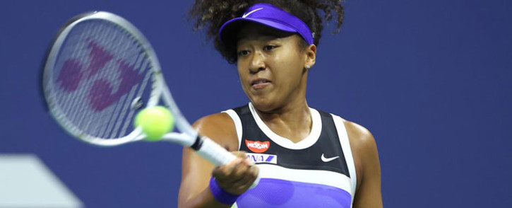 Naomi Osaka hits a return in her US Open match on 8 September 2020. Picture: @usopen/Twitter