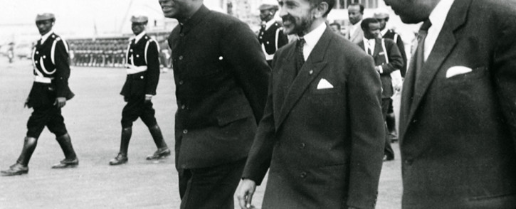 Reproduction of a file photo dated 25 May 1963 shows the Ethiopian Emperor Haile Selassie (C) and Ghana's founder and first President Kwame Nkrumah (L) during the formation of the Organization of African Unity in Addis Ababa. Picture: AFP.