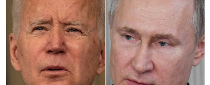 A combination of photos of US President Joe Biden on 15 March 2021 and Russian President Vladimir Putin on 6 March 2020. Picture: Eric BARADAT, Alexey NIKOLSKY/AFP/Sputnik