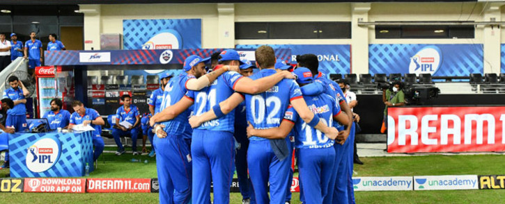 Delhi Capitals players huddle up before a match. Picture: @DelhiCapitals/Twitter