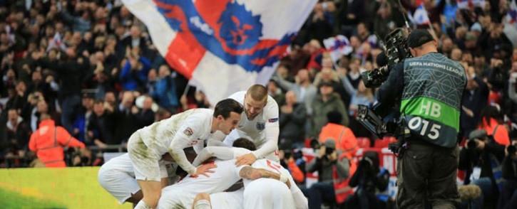 England players celebrate a victory in their UEFA Nations League match against Croatia on 18 November 2018. Picture: @J_Gomez97/Twitter