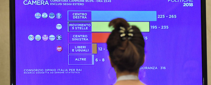 A journalist watches a TV screen showing the first exit polls at the Five-Star Movement (M5S) press room early on March 5, 2018 after the closure of the polling stations in Rome. Picture: AFP