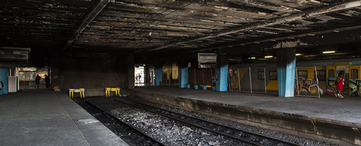 FILE: Fire and smoke damage at Cape Town Station following an incident of arson in April 2016. Picture: Aletta Harrison/EWN