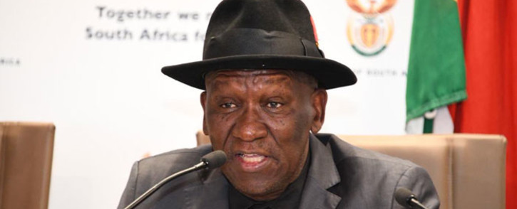 FILE: Police Minister Bheki Cele at a justice, crime prevention and security cluster briefing on the elections on 13 May 2019. Picture: @SAPoliceService/Twitter