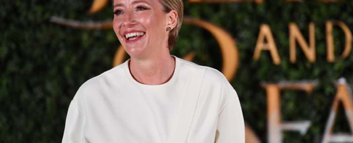 """FILE: British actress Emma Thompson poses upon arrival at the UK launch of the film """"Beauty and the Beast"""" in London. Picture: AFP"""