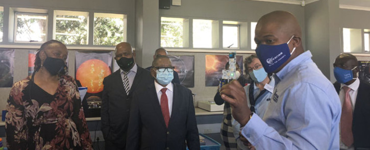 Minister of Science and Innovation Blade Ndzimande at the launch of the 24-hour space weather regional warning centre at the South African National Space Agency in Hermanus on 9 March 2021. Picture: Graig-Lee Smith/Eyewitness News
