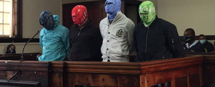 Tshepiso Kekana, Cidraas Motseothata, Madimetja Legodi and Victor Mohammed appear in the Johannesburg Magistrate Court on 26 March 2021. Picture: Veronica Mokhoali/Eyewitness News