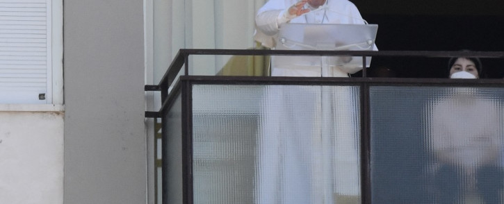 Pope Francis leads the Sunday's Angelus prayer from the Gemelli Hospital, in Rome, on 11 July 2021, where he is recovering from colon surgery.  Picture: Filippo MONTEFORTE / AFP