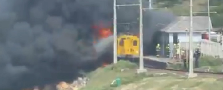 One motorised locomotive and two carriages were severely damaged, while a third carriage was slightly damaged. Picture: Screengrab.