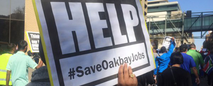 A group of around 100 Oakbay employees marched to Absa bank to hand over a memorandum on 26 April 2016. Picture: Gia Nicolaides/EWN.