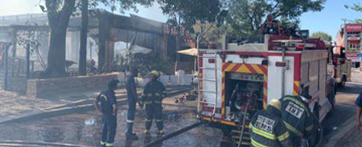 Fire at Rivonia Village. Picture: Twitter.