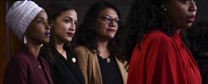 US Representatives Ayanna Pressley (D-MA) speaks as, Ilhan Abdullahi Omar (D-MN)(L), Rashida Tlaib (D-MI) (2R), and Alexandria Ocasio-Cortez (D-NY) hold a press conference, to address remarks made by US President Donald Trump earlier in the day, at the US Capitol in Washington, DC on 15 July 2019. Picture: AFP