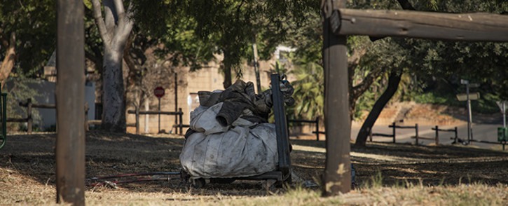 The body of a fifth homeless murder victim was found at a bus stop in Muckelneuck, near Unisa, on 19 June 2019. Picture: Sethembiso Zulu/EWN