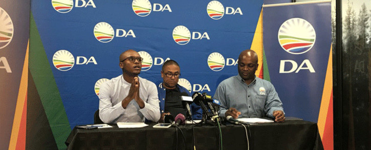 The Gauteng DA's Solly Malatsi, Jacques Julius and Solly Msimanga briefs the media on 15 October 2018. Picture: EWN