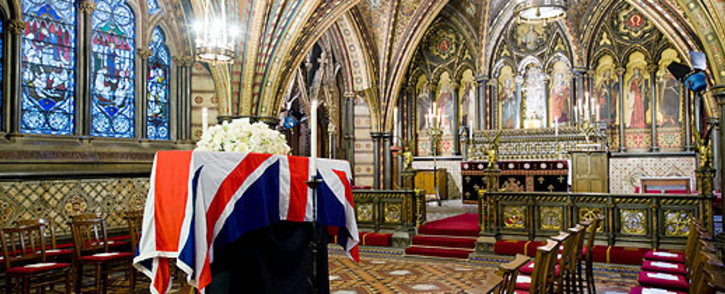 The coffin of former British Prime Minister Margaret Thatcher rests in the Crypt Chapel of St Mary Undercroft beneath the Houses of Parliament in central London on 16 April 2013. Picture: AFP/Pool/Leon Neal