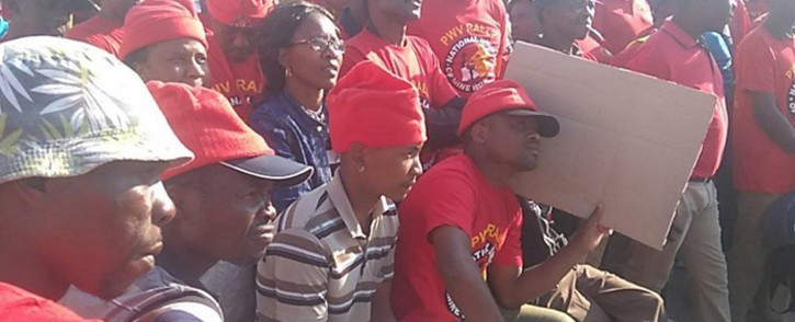 A screengrab shows NUM members during a protest. Picture: Twitter/@NUM_Media.