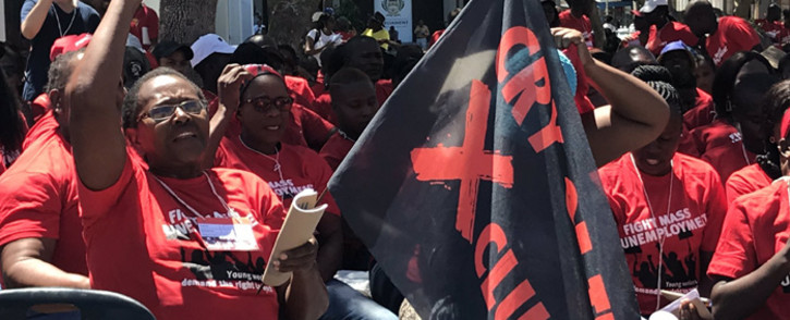 Social justice activists demonstrated outside Parliament on 24 February 2020 against SA's high unemployment rate during what they called the real jobs summit. Picture: Kevin Brandt/EWN.