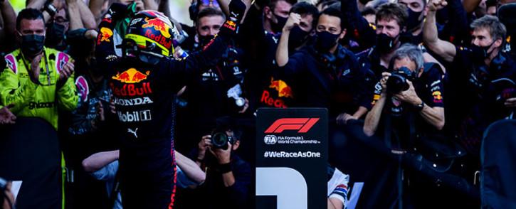 Red Bull's Sergio Perez celebrates winning the Azerbaijan Grand Prix on 6 June 2021. Picture: @redbullracing/Twitter