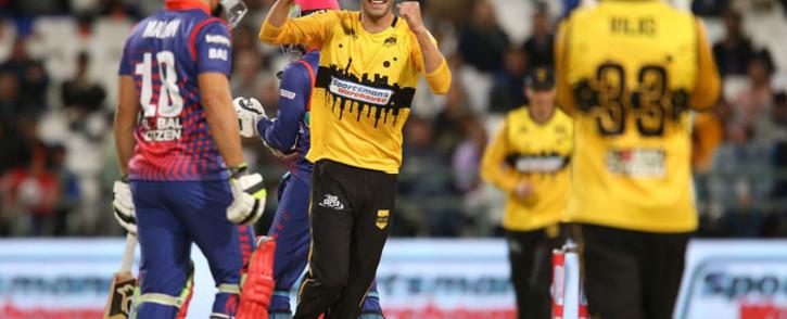 Jozi Stars celebrate the fall of a wicket. Picture: @msljozistars/Twitter